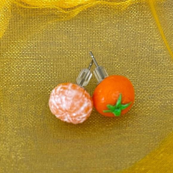 Orange Post Earrings • New